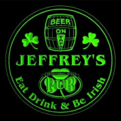 4x ccpa0030-g JEFFREY'S Irish Shamrock Pub Ale Bar Beer Etched Engraved 3D Coasters