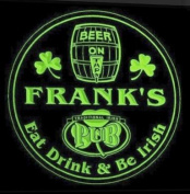 4x ccpa0031-g FRANK'S Irish Shamrock Pub Ale Bar Beer Etched Engraved 3D Coasters