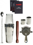 WIN-WARE Boston Cocktail Shaker Gift Set - Includes Hawthorn Strainer, Muddler, Bar Spoon with masher, 25ml and 50ml Jiggers and a WIN-WARE pocket size cocktail making guide. All enclosed in a WIN-WARE gift box - Great kit for professional bartending o ..