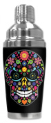 Mugzie® brand 470ml Cocktail Shaker with Insulated Wetsuit Cover - Multi Colour Sugar Skull