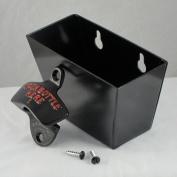 Black OPEN BOTTLE HERE Combo Wall Mount Bottle Opener and Metal Cap Catcher Set
