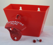 Red OPEN BOTTLE HERE Combo Wall Mount Bottle Opener and Plastic Cap Catcher Set