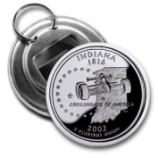 INDIANA State Quarter Mint Image 5.7cm Button Style Bottle Opener