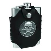 8oz Hip Flask with Skull & Cross Bones Case