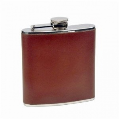 Brown Genuine Leather Stainless Steel 180ml Hip Flask NEW Biker Liquor HIP-0019