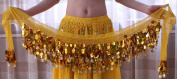 100% Handmade Belly Dance Hip Scarf , Gold Coins Wave & Deluxe V-hape --Gold