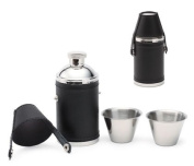 Aeropen International FK-2506 180ml Black Leather Wrapped Stainless Steel Flask with 2 - 30ml Stainless Steel Shooters