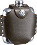 New - Stud Stainless Steel 120ml Hip Flask with Black Leather Wrap by Visol