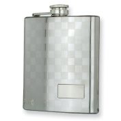 Polished Stainless Steel Checkerboard 240ml Flask
