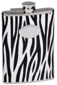 "Visol ""Zebra"" Black & White Leather 240ml Stainless Steel Flask"