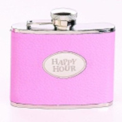 Womans Travel Flask - Pink Leather Flask