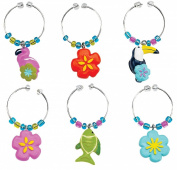 Flamingo and Friends Toucan Fish Hibiscus Flowers Wine Charms Set of 6
