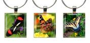 BUTTERFLIES ~ Scrabble Tile Wine Glass Charms ~ Set #3 ~ PAIR & A SPARE ~ Set of 3 ~ Stemware Charms/Markers/Pendants