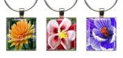 FLORAL BEAUTIES ~ Scrabble Tile Wine Glass Charms ~ Set #1 ~ PAIR & A SPARE ~ Set of 3 ~ Stemware Charms/Markers/Pendants