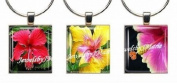 HIBISCUS ~ Scrabble Tile Wine Glass Charms ~ Set #2 ~ PAIR & A SPARE ~ Set of 3 ~ Stemware Charms/Markers/Pendants