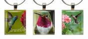 HUMMINGBIRDS ~ Scrabble Tile Wine Glass Charms ~ Set #3 ~ PAIR & A SPARE ~ Set of 3 ~ Stemware Charms/Markers/Pendants