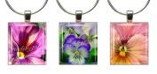 PANSIES & VIOLAS ~ Scrabble Tile Wine Glass Charms ~ Set #2 ~ PAIR & A SPARE ~ Set of 3 ~ Stemware Charms/Markers/Pendants