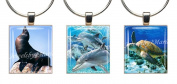 SEA LIFE ~ Scrabble Tile Wine Glass Charms ~ Set #1 ~ PAIR & A SPARE ~ Set of 3 ~ Stemware Charms/Markers/Pendants