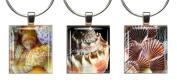 SEA SHELLS ~ Scrabble Tile Wine Glass Charms ~ Set #4 ~ PAIR & A SPARE ~ Set of 3 ~ Stemware Charms/Markers/Pendants