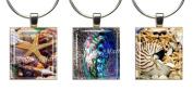 SEA SHELLS ~ Scrabble Tile Wine Glass Charms ~ Set #8 ~ PAIR & A SPARE ~ Set of 3 ~ Stemware Charms/Markers/Pendants