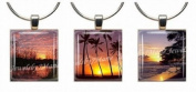 SUNSETS ~ Scrabble Tile Wine Glass Charms ~ Set #2 ~ PAIR & A SPARE ~ Set of 3 ~ Stemware Charms/Markers/Pendants