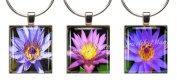 WATER LILIES ~ Scrabble Tile Wine Glass Charms ~ Set #2 ~ PAIR & A SPARE ~ Set of 3 ~ Stemware Charms/Markers/Pendants