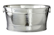 Elegance Hammered 20-1/2 by 35.6cm by 22.9cm Stainless Steel Party Tub