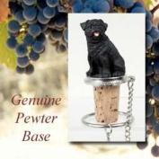 Pug Black Wine Bottle Stopper