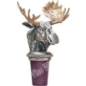 Moose w/ Brass Antlers Pewter Bottle Stopper