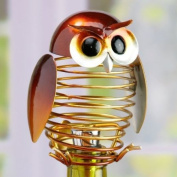 15.2cm Deoorative Spring Wrought Iron Owl Figurine Wine Bottle Stopper
