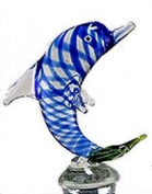 Hand-blown Glass Dolphin Bottle Stopper by Yurana Designs BS080
