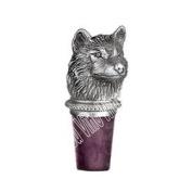Wolf Head Pewter Bottle Stopper