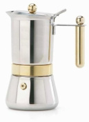 Vev Vigano 8152 Vespress Gold 2-cup Coffee Pot - Made in Italy