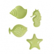Seaweed Green Coastal Nautical Shell Seahorse Fish Starfish Tea Bag Holder Set/4