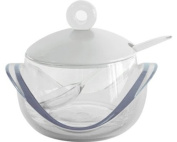 Omada M3691TR Dressing Glass Grated Cheese Bowl with Tea Spoon, Transparent