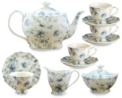 Gracie China Blue Rose Chintz 11-Piece Tea Service, 4-Cup Teapot Sugar Creamer and Four 210ml Cups and Saucers