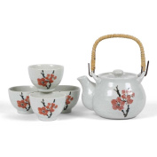 Japanese Stoneware Tea Set Gift Set with Tea Pot and Four Cups, Red Plum