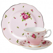 Royal Albert New Country Roses 3-Piece Pink Tea Set, Cup, Sauer & Plate