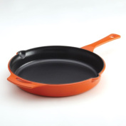 Rachael Ray Cast Iron 30.5cm Skillet with Helper Handle and 2 Pour Spouts, Orange