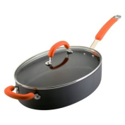 Rachael Ray Hard Anodized Nonstick 4.7l Oval Saute Pan with Glass Lid, Orange