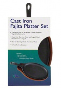 Update International CIZPH-15/SET Cast Iron Fajita Platter Set with Wood Underliner, 38.1cm