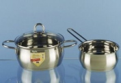 ELO 67120 Platinum Stainless Steel Tri Ply Bottom Chef's Low Sauce Pot with Glass Lid, 2.8l