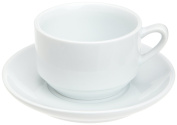 Kitchen Supply 8115 White Porcelain Cafe Au Lait Cup and Saucer, 270ml