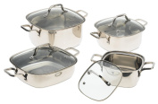 Prime Cookware 8 Piece Square Stainless Steel Cookware Set with Glass Lids