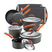 Rachael Ray 87593 Hard Anodized II Nonstick Dishwasher Safe 12-Piece Cookware Set, Orange