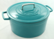 Teal Blue Enamelled Cast Iron 7.6l. Round Dutch Oven Casserole