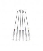 Trudeau Stainless Steel Fondue Forks with Multi-Coloured Ends, Set of 6