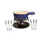 Swissmar KF-66518 Lugano 1.9l Cast Iron Cheese Fondue Set, 9-Piece, Deep Blue