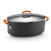 Rachael Ray Hard Anodized Nonstick 7.6l Oval Pasta Pot with Glass Lid, Orange