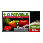 Ammex PGLOVE-500 Food Service Poly Glove, Latex Free, Disposable, 1 mil Thickness, Powder Free, Medium, PGLOVE-M-500-BX
